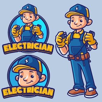 Modelo de logotipo de mascote de eletricista