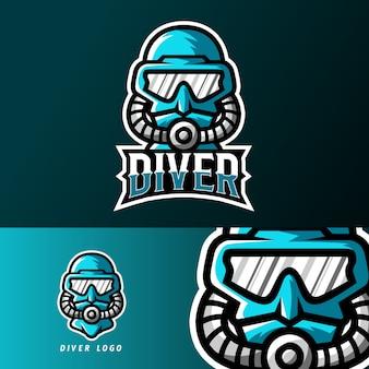Modelo de logotipo de mascote de esporte ou esporte de mergulhador