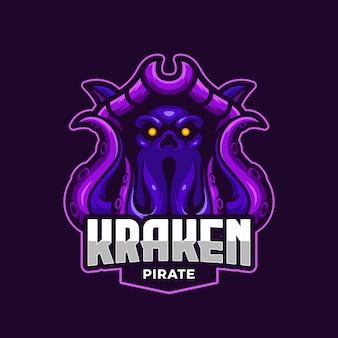 Modelo de logotipo de mascote de esportes eletrônicos kraken pirate octopus