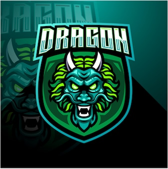 Modelo de logotipo de mascote de esports de cabeça de dragão