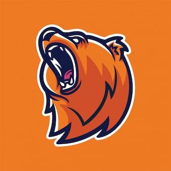 Modelo de logotipo de mascote de grizzly bear