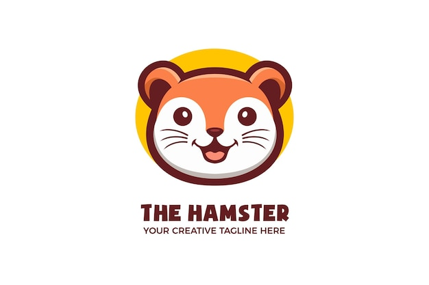Modelo de logotipo de mascote de hamster