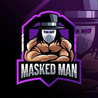 Modelo de logotipo de mascote de homem mascarado