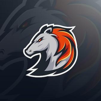 Modelo de logotipo de mascote de jogo com cabeça de cavalo forte