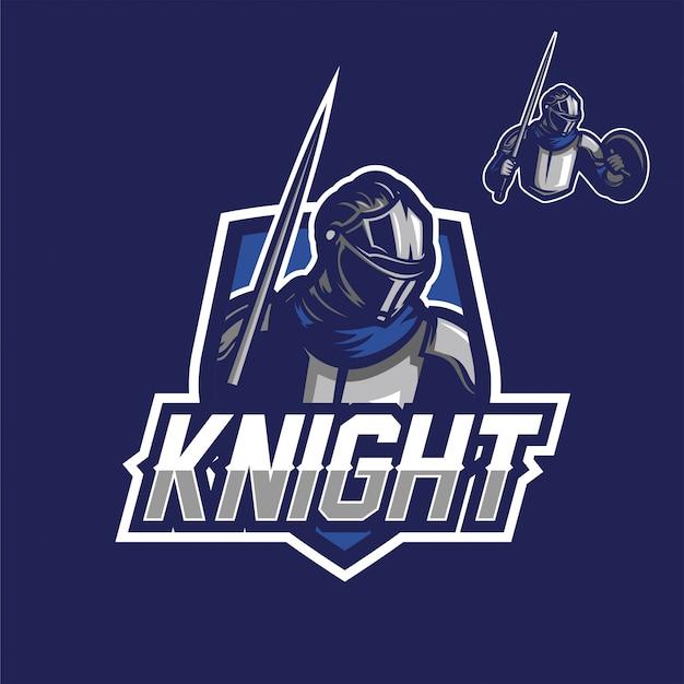 Modelo de logotipo de mascote de jogo esport cavaleiro de ferro