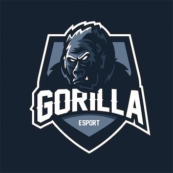 Modelo de logotipo de mascote de jogo gorilla esport