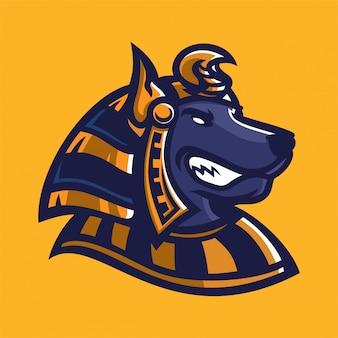 Modelo de logotipo de mascote de jogos anubis esport