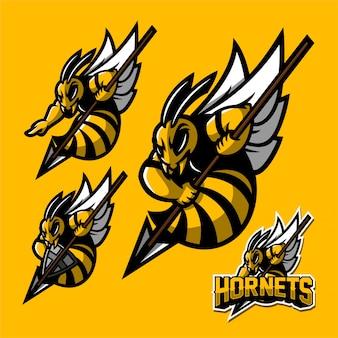 Modelo de logotipo de mascote de jogos de abelha hornet