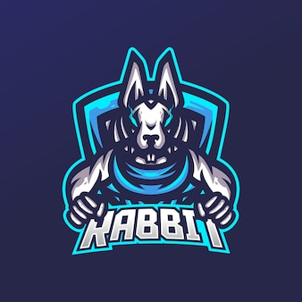 Modelo de logotipo de mascote de jogos de coelho esport