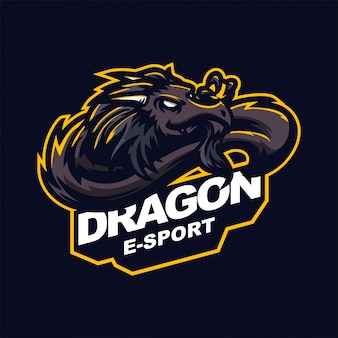 Modelo de logotipo de mascote de jogos de dragão e-sport