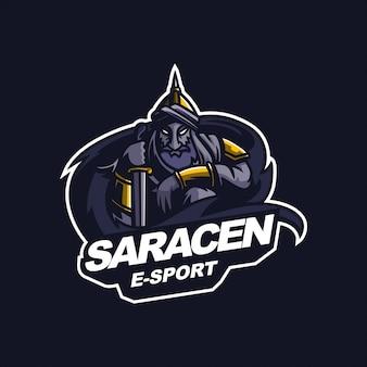 Modelo de logotipo de mascote de jogos de e-esporte de cavaleiro sarraceno árabe