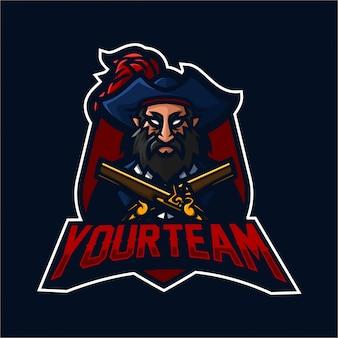 Modelo de logotipo de mascote de jogos de esport pirata