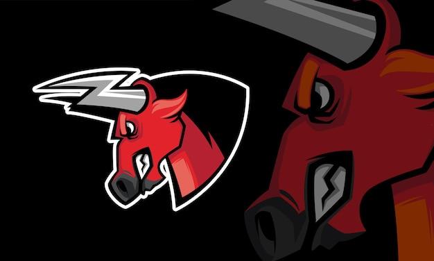 Modelo de logotipo de mascote de jogos de esporte buffalo vetor premium