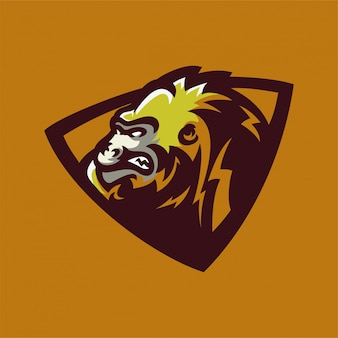 Modelo de logotipo de mascote de jogos de gorila esporte
