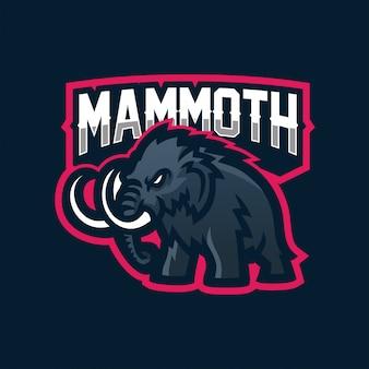 Modelo de logotipo de mascote de jogos de mamute / elefante esport