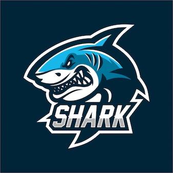 Modelo de logotipo de mascote de jogos de tubarão esport