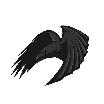 Modelo de logotipo de mascote de jogos esport corvo