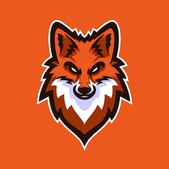 Modelo de logotipo de mascote de jogos esportos fox