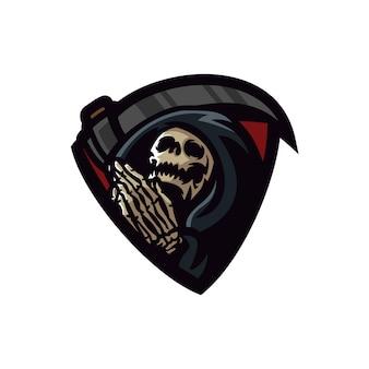 Modelo de logotipo de mascote de jogos grim reaper