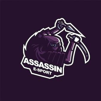Modelo de logotipo de mascote de jogos japoneses assassino e-sport