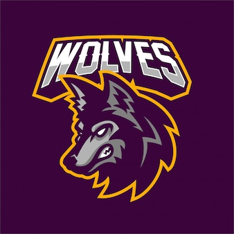 Modelo de logotipo de mascote de jogos lobo esport