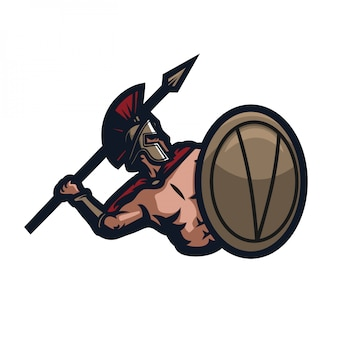 Modelo de logotipo de mascote de jogos sparta esport