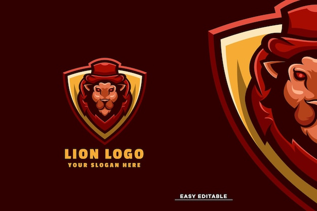 Modelo de logotipo de mascote de leão