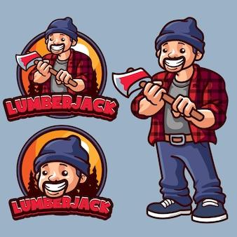 Modelo de logotipo de mascote de lenhador