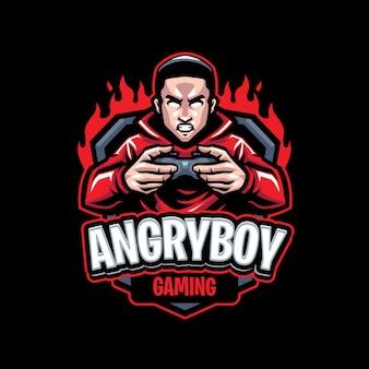 Modelo de logotipo de mascote de menino zangado