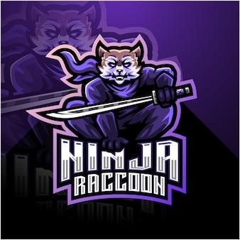 Modelo de logotipo de mascote de ninja raccoon esport