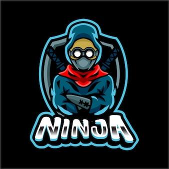 Modelo de logotipo de mascote de ninja samurai esport