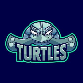 Modelo de logotipo de mascote de tartaruga