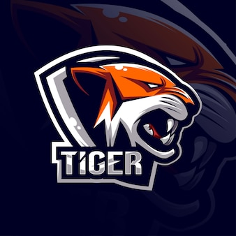 Modelo de logotipo de mascote de tigre esport