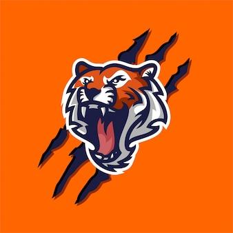 Modelo de logotipo de mascote de tigre para esporte, tripulação de jogo, logotipo da empresa