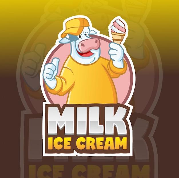 Modelo de logotipo de mascote de vaca de sorvete