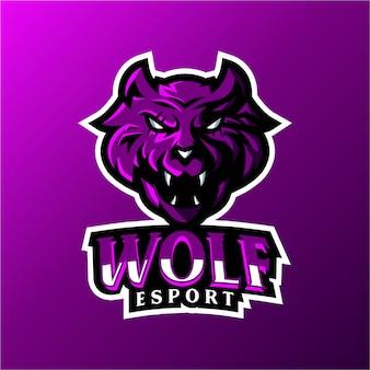Modelo de logotipo de mascote de wolf esport