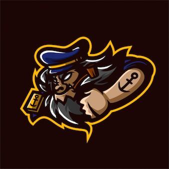 Modelo de logotipo de mascote do jogo de capitão esport de marinheiro