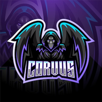 Modelo de logotipo de mascote esport corvus