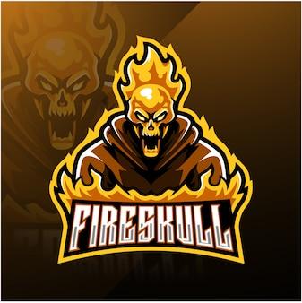 Modelo de logotipo de mascote esport de caveira de fogo
