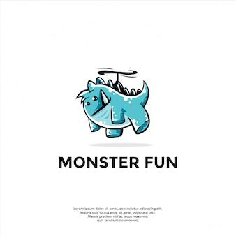 Modelo de logotipo de mascote monstro brincalhão