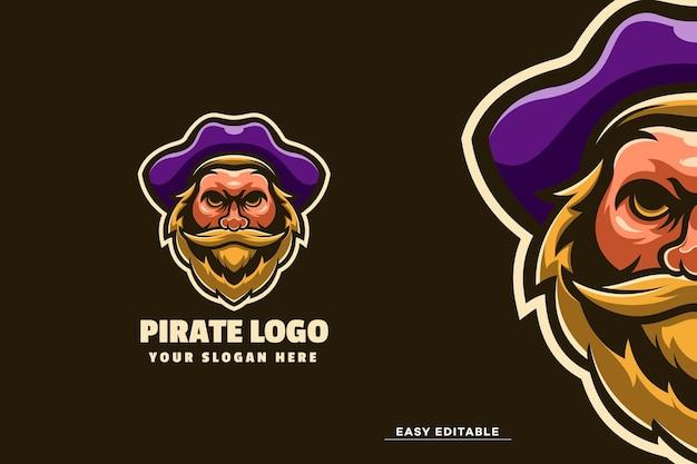 Modelo de logotipo de mascote pirata