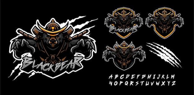 Modelo de logotipo de mascote premium de urso pardo samurai Vetor Premium