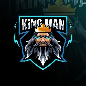 Modelo de logotipo de mascote rei homem