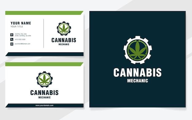 Modelo de logotipo de mecânico de cannabis em estilo moderno