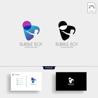 Modelo de logotipo de menino bolha com cartão