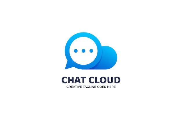 Modelo de logotipo de mensagem de bolha de bate-papo na nuvem