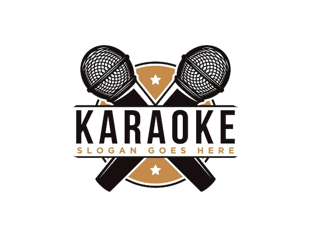 Modelo de logotipo de microfone de karaokê