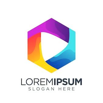 Modelo de logotipo de mídia colorida