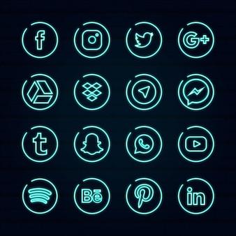 Modelo de logotipo de mídia social de néon