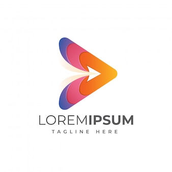 Modelo de logotipo de mídia voa
